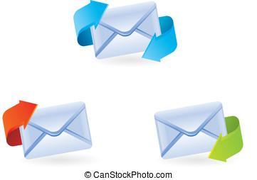 vettore, set, email, icone