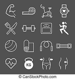 vettore, set, esercizio, icons., illustrations.