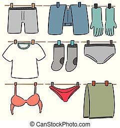 vettore, set, essiccamento, vestiti