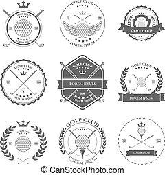 vettore, set., etichette, golf, icone