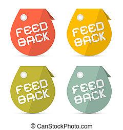 vettore, set, feedback, icone, carta, retro