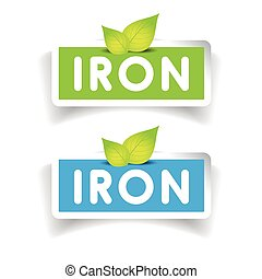 vettore, set, ferro, etichetta