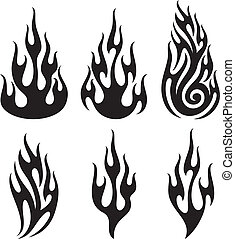 vettore,  set, fiamme