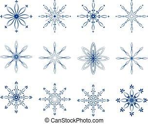 vettore, set, fiocco di neve