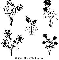 vettore, set, fiori, silhouette