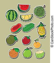 vettore, set, frutta