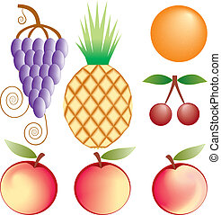 vettore, set, frutte