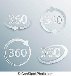 vettore, set, gradi, 360, vista
