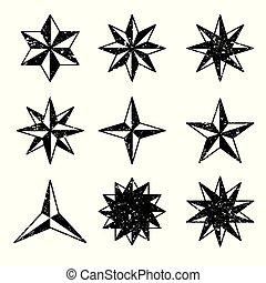 vettore, set, grunge, stelle, icone