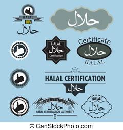 vettore, set, halal, etichetta