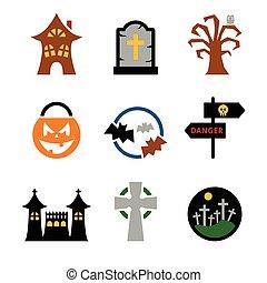 vettore, set, halloween, icone