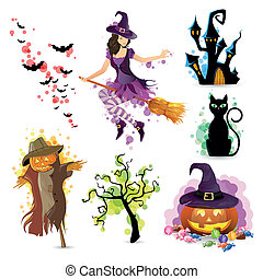 vettore, set, halloween