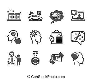 vettore, set, icone affari, punte, musica, fabbricazione, rapido, tale, spanner.