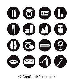 vettore, set, icone, cosmetica, bellezza