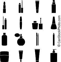 vettore, set, icone, cosmetica, illustrazione