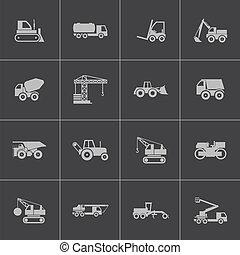 vettore, set, icone, costruzione, nero, trasporto