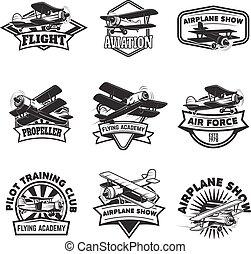 vettore, set, illustration., accademia, segno., volare, emblems., emblema, elementi, etichetta, vendemmia, disegno, airplanes., logotipo