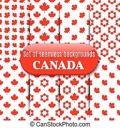 vettore, set, illustration., canadese, seamless, fondo