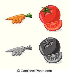 vettore, set, illustration., segno., illustrazione, frutta, verdura, vegetariano, casato