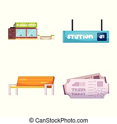 vettore, set, illustration., segno., illustrazione, stazione treno, biglietto, casato