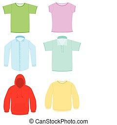 vettore, set., illustrazione, abbigliamento