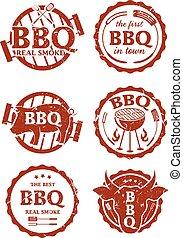vettore, set, illustrazione, labels., bbq