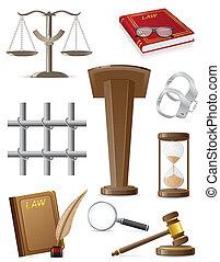 vettore, set, illustrazione, legge, icone