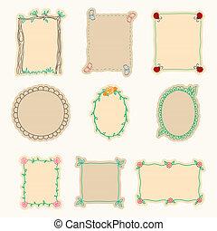 vettore, set, illustrazione, mano, 4., frames., disegnato