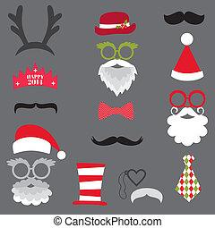 vettore, set, -, labbra, occhiali, maschere, cappelli natale, cabina, baffi, foto, festa, disegno, retro