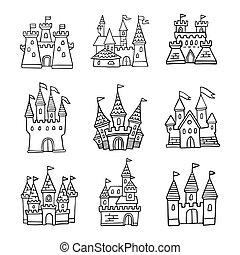 vettore, set, magia, bandiera, scheda, scarabocchiare, flyer., o, fairytale, icons., mano, buono, kingdom., castello, illustrazione, invito, disegnato, principessa, cartone animato, logotipo, augurio