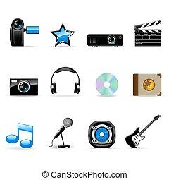 vettore, set, media, icone