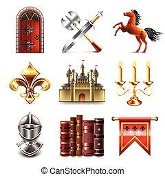 vettore, set, medievale, icone