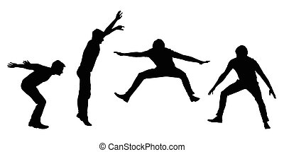 vettore, set, movimento, giovane, isolato, silhouette, saltare, sfondo nero, bianco, uomo