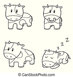 vettore, set, mucca