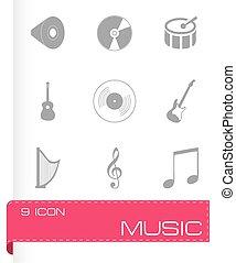 vettore, set, musica, icone