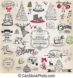 vettore, set:, natale, calligraphic, disegni elementi, e, pagina, decorazione, vendemmia, cornici