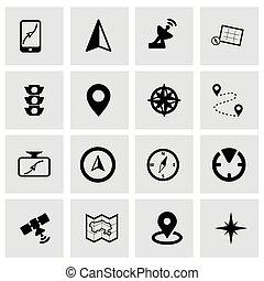 vettore, set, navigazione, icona