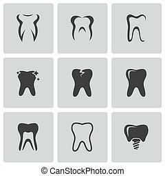 vettore, set, nero, denti, icone