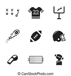 vettore, set, nero, football, icone