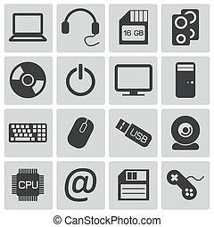 vettore, set, nero, icone computer