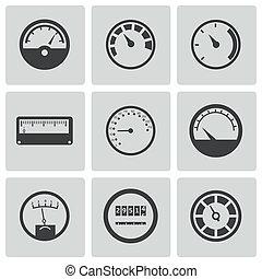 vettore, set, nero, metro, icone