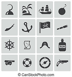 vettore, set, nero, pirati, icone