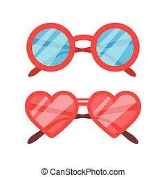 vettore, set, occhiali da sole, icona