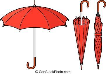 vettore, set, ombrello, aperto, chiuso