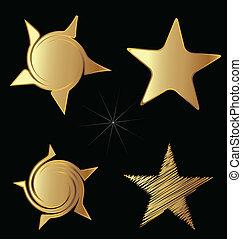 vettore, set, oro, stelle