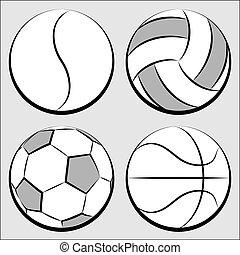 vettore, set, palle, sport