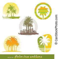 vettore, set, -, palma, emblemi, &, etichette
