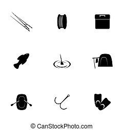 vettore, set, pesca, icona
