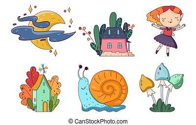 vettore, set, ragazze, illustration., cartone animato, objects.