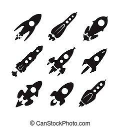vettore, set, razzo spaziale, icona